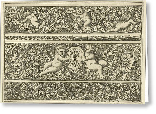 Three Friezes With Leaf Tendrils, Print Maker Anthonie De Greeting Card by Anthonie De Winter