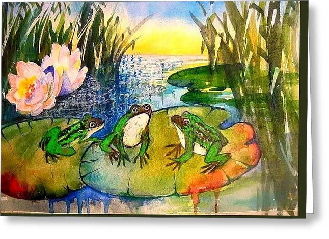 Three Frogs Greeting Card