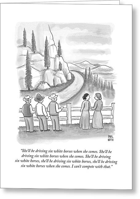 Three Frontiersmen And Two Women Watch A Mountain Greeting Card