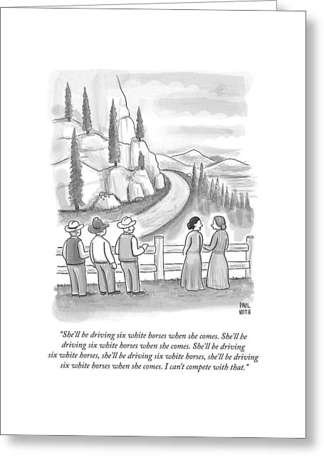 Three Frontiersmen And Two Women Watch A Mountain Greeting Card by Paul Noth
