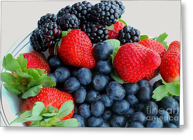 Three Fruit 2 - Strawberries - Blueberries - Blackberries Greeting Card by Barbara Griffin