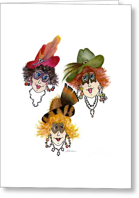 Three Funny Ladies With Outrageous Attire Greeting Card