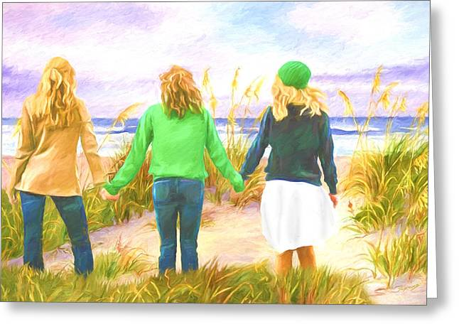 Three Girls At The Beach Greeting Card