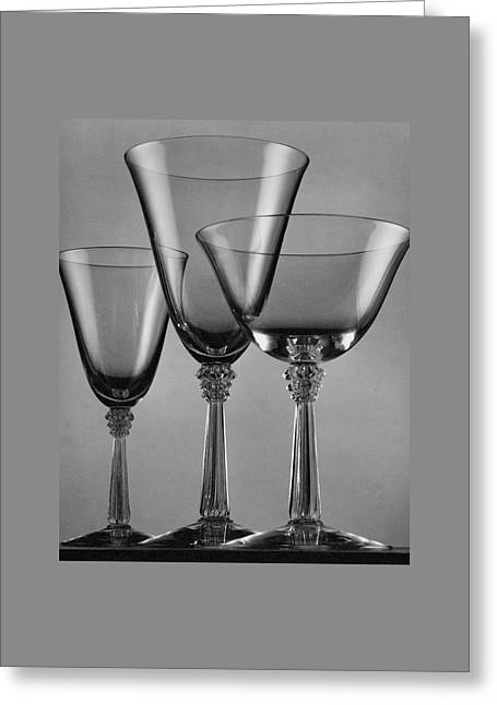 Three Glasses By Fostoria Greeting Card by Peter Nyholm