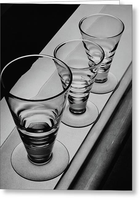 Three Glasses On A Shelf Greeting Card