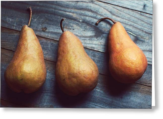Three Gold Pears Greeting Card by Lupen  Grainne