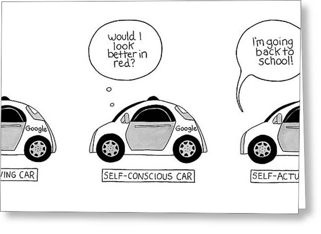 Three Google Cars Greeting Card
