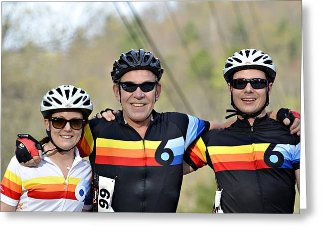 Three Gran Fondo Riders Greeting Card by Susan Leggett