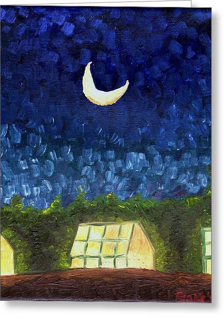 Three Greenhouses Under A Crescent Moon Greeting Card by Blake Grigorian