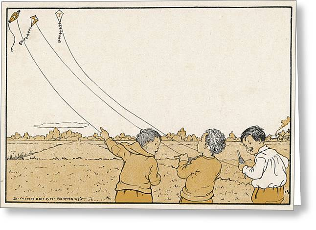 Three Happy Boys Flying Their Kites Greeting Card