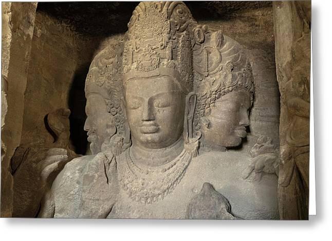 Three Headed Sculpture Of Maheshmurti Greeting Card by Panoramic Images