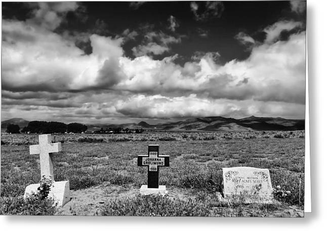 Three Headstones Greeting Card by Mick Burkey