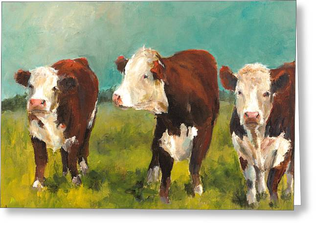 Three Herefords Greeting Card by Cari Humphry