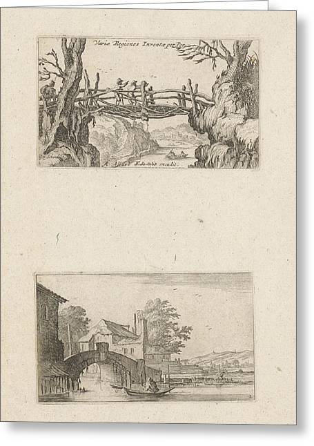 Three Hikers On A Wooden Bridge And Rowing Boat Greeting Card by Gillis Scheyndel I And Frederik De Wit