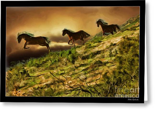 Three Horse's On The Run Greeting Card by Blake Richards