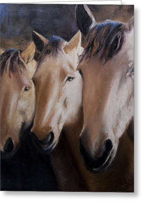 Three Horses Greeting Card by Terri  Meyer