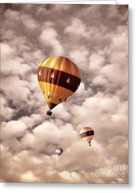 Three Hot Air Balloons In The Clouds Greeting Card