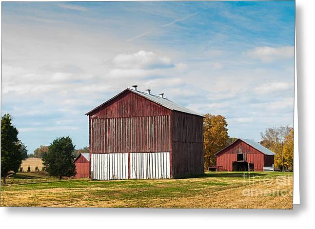 Greeting Card featuring the photograph Three In One Barns by Debbie Green