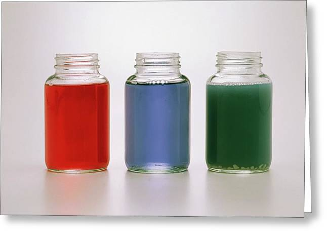 Three Jars Containing Red Cabbage Juice Greeting Card by Dorling Kindersley/uig