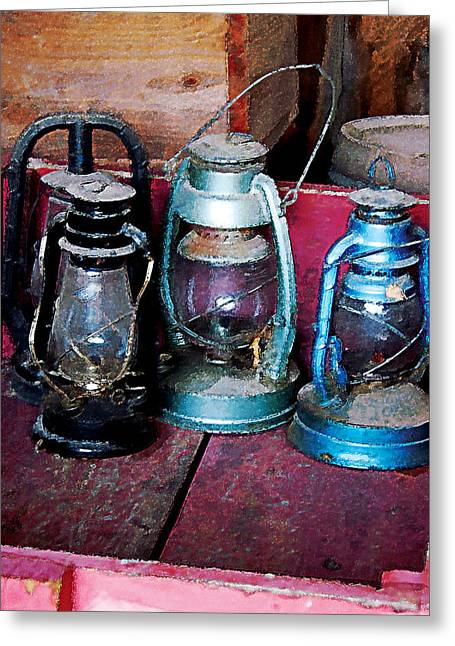 Three Kerosene Lamps Greeting Card by Susan Savad
