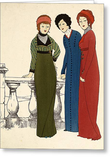 Three Ladies In Dresses Colour Lithograph Greeting Card by Paul Iribe