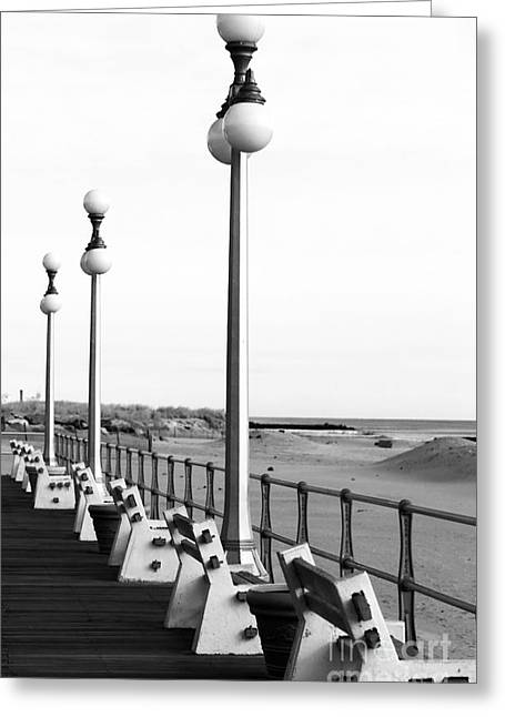 Three Lamp Posts In Avon Greeting Card by John Rizzuto