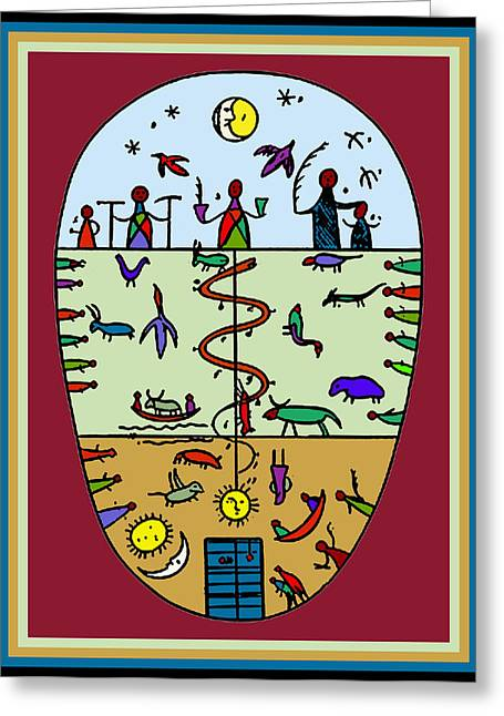 Greeting Card featuring the digital art Three Layers Of Life by Vagabond Folk Art - Virginia Vivier