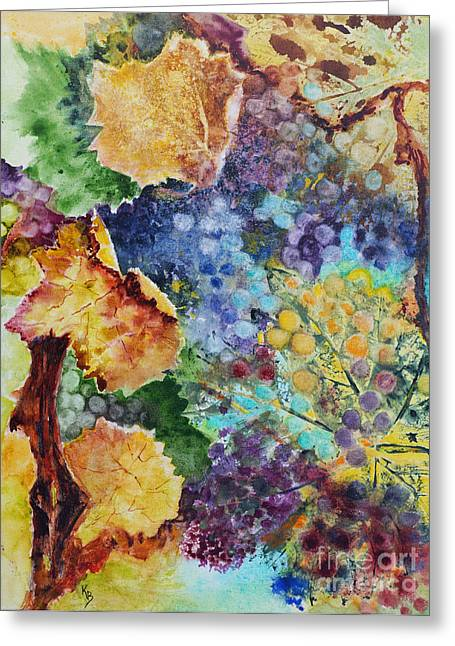 Greeting Card featuring the painting Three Leaves by Karen Fleschler