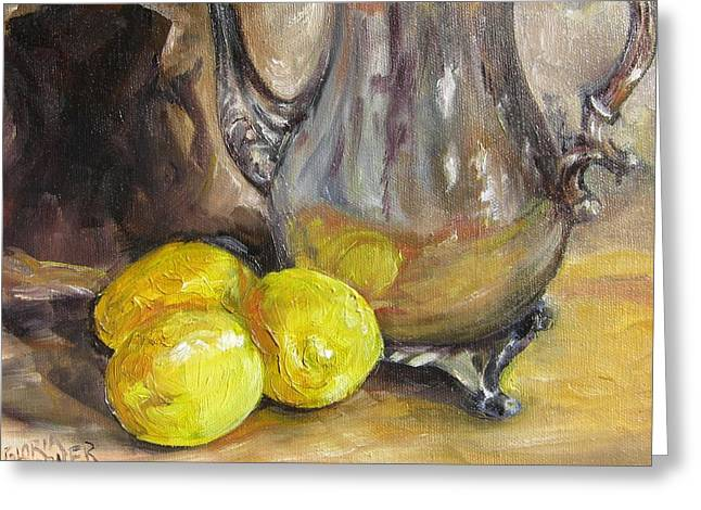 Three Lemons Greeting Card by Gloria Turner