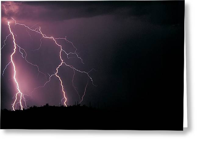 Three Lightning Strikes In The Sonoran Greeting Card by Thomas Wiewandt