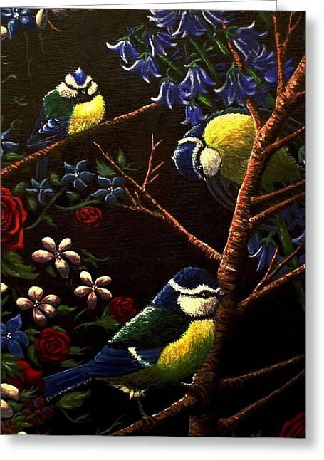 Three Little Birds Greeting Card by Bonnie Leeman