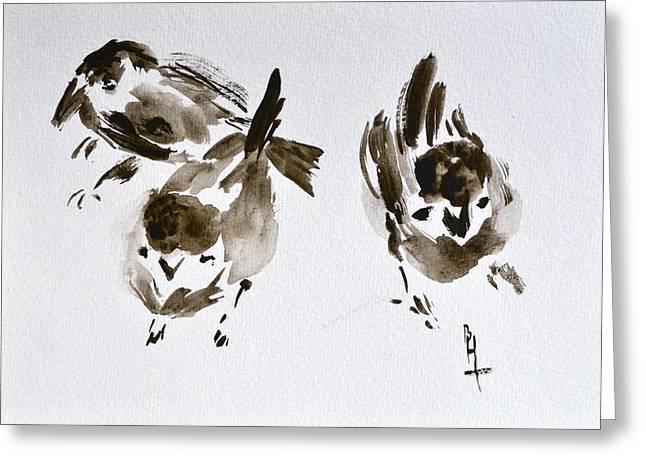 Three Little Birds Perch By My Doorstep Greeting Card by Beverley Harper Tinsley