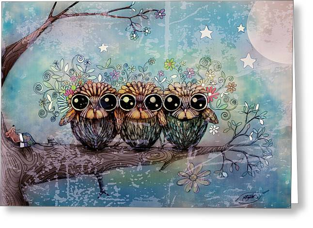 Three Little Night Owls Greeting Card by Karin Taylor