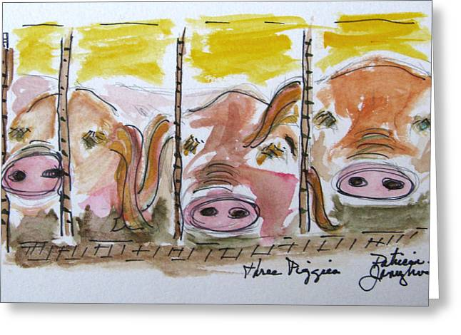 Three Little Pigs Greeting Card by Patricia Januszkiewicz