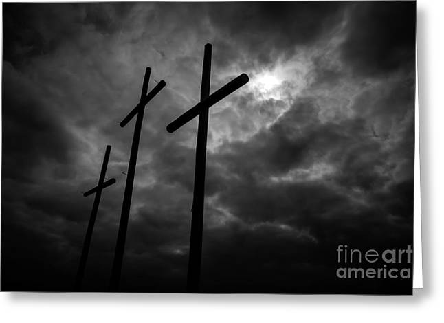 Three Lonely Crosses In The Mississippi Delta Greeting Card