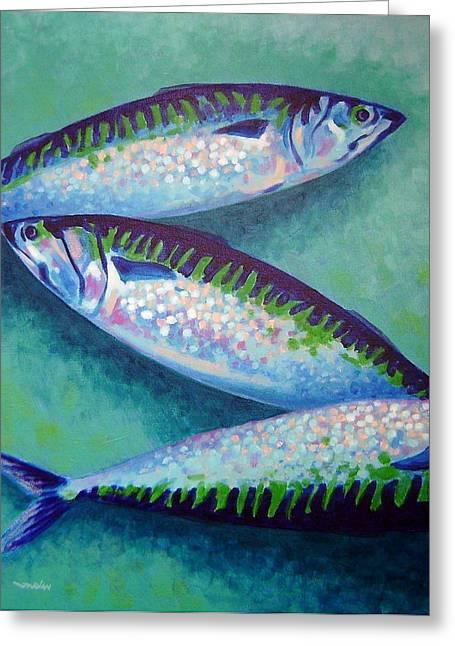 Three Mackerel Greeting Card by John  Nolan