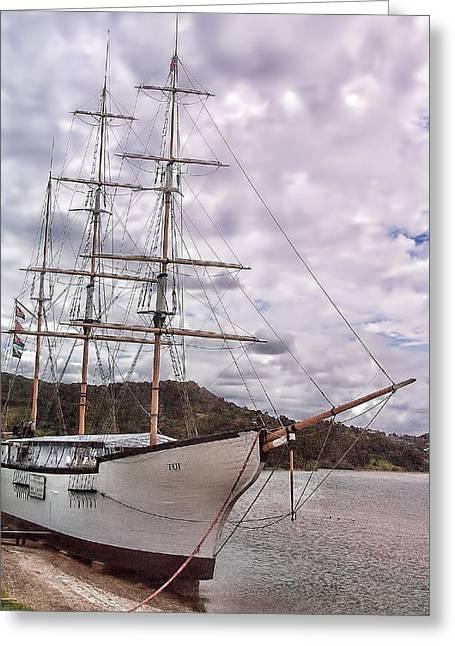 Three Mast Sail Boat Greeting Card by Linda Phelps