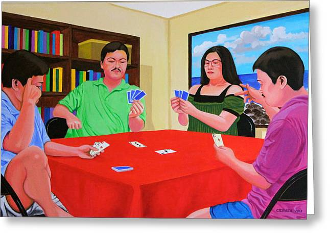 Greeting Card featuring the painting Three Men And A Lady Playing Cards by Cyril Maza