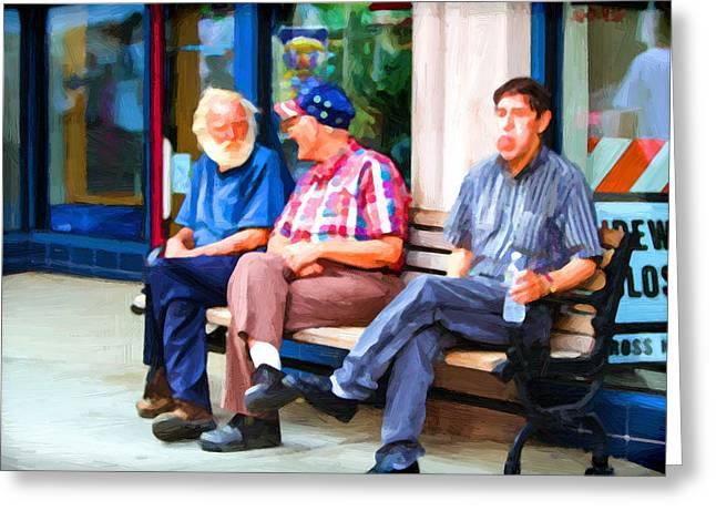 Three Men On A Bench Greeting Card by John Haldane