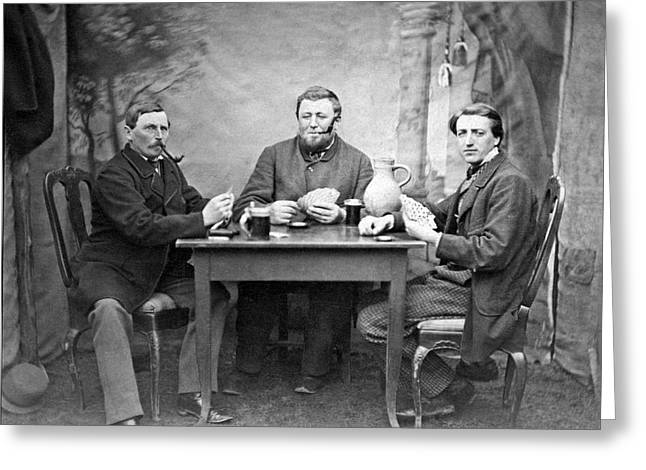 Three Men Playing Cards Greeting Card by Underwood Archives