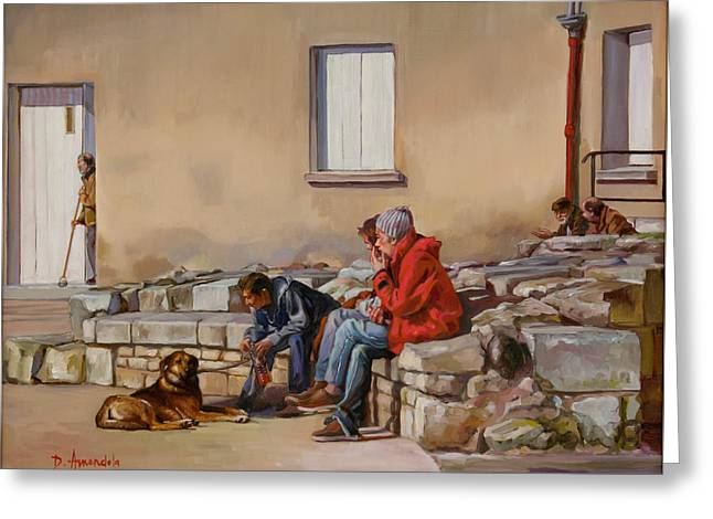 Three Men With A Dog Greeting Card by Dominique Amendola