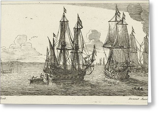 Three Merchant Ships Off The Coast, Anonymous Greeting Card by Anonymous And Pierre Drevet