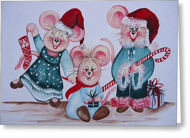 Three Merry Mice Greeting Card by Leslie Manley