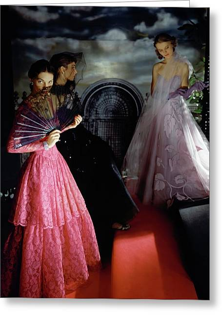 Three Models Wearing Ball Gowns Greeting Card by Horst P. Horst