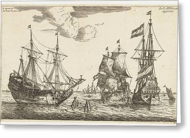 Three Moored Sailboats, Reinier Nooms Greeting Card