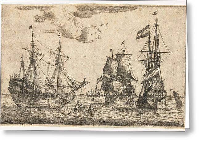 Three Moored Sailing Boats, Reinier Nooms Greeting Card by Reinier Nooms