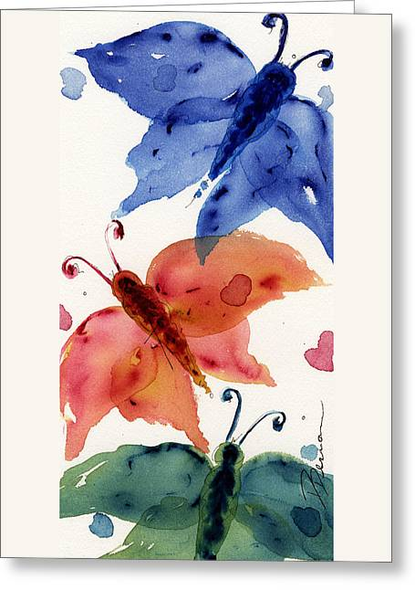 Three Moths II Greeting Card by Dawn Derman