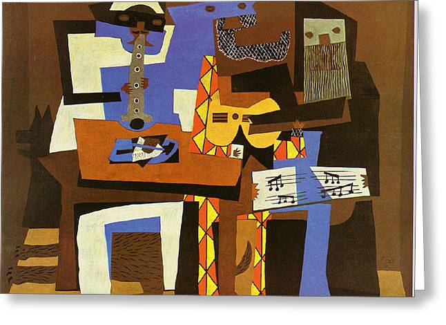 Three Musicians Greeting Card by Picasso Pablo Pablo Picasso