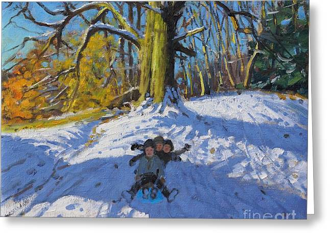 Three On A Sledge Allestree Park Derby Greeting Card