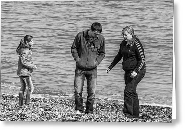 Three On The Beach Greeting Card by Paul Donohoe